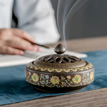 Vintage faience incense burner, handmade ceramic incense burner