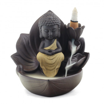 Buddha, female buddha and monk ceramic backflow incense burner