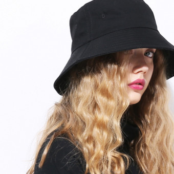 Japanese bucket hat black short brim bucket hat for girls