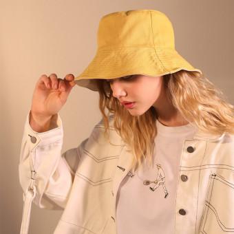 Reversible women's cotton bucket hat classic bucket beach sun hat
