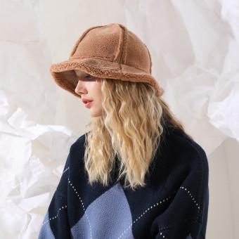 Polar fleece bucket hat for winter fluffy warm bucket hat