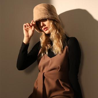 Bucket winter hat for women rabbit hair blend bucket hat