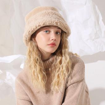 Sherpa fleece bell bucket hat cute warm bucket hat for women