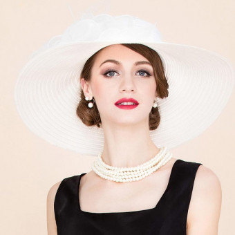 Organza floppy sun hat british style women's floppy hat with flower