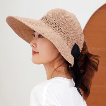 Women foldable wide brim sun hat, straw visor sun hat with bowknot