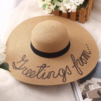 Foldable wide brim beach floppy sun hat, straw parent-child sun hat