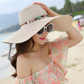 Summer beach sun hat with seashell string UPF 50+ straw floppy hat