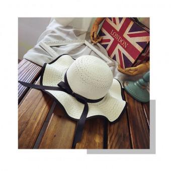 Straw beach sun hat wavy wide brim sun hat with black bowknot