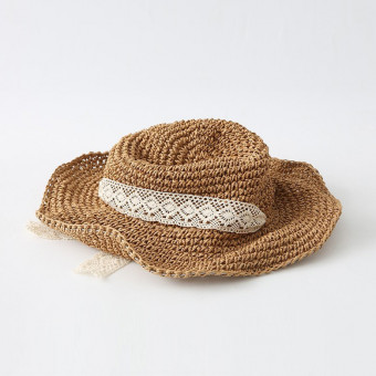 Floppy wide brim packable sun cap with lace chin strap