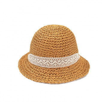 Straw cap for baby girls with a white lace ribbon straw bucket cap