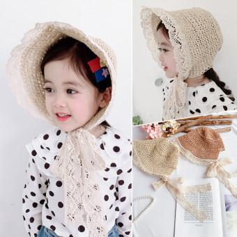 Straw sun protection hat for kids toddlers, lace trimmed bonnet