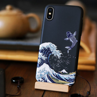 Black Embossed iPhone Cases, Chinese Style Embossed iPhone Cases for Men