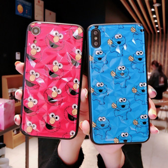 Cookie Monster iPhone Case, Diamond Pattern Sesame Street iPhone Case