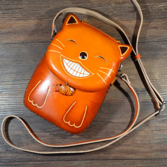 Fashion handmade leather cartoon animal small crossbody shoulder bag