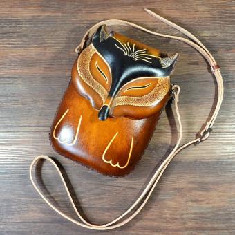 Fashion handmade leather animated fox small crossbody shoulder bag