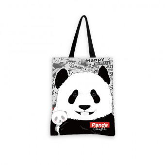 Pandamomo cotton canvas shoulder bag handbag with cute panda pattern