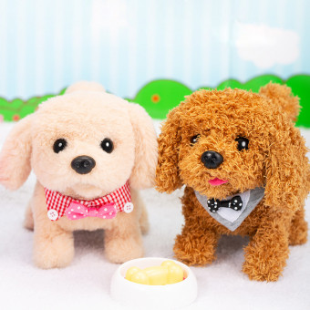Plush electronic toy dog walks, sits, barks imported from Japan