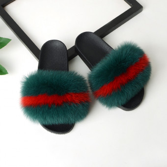 Spring And Summer New Style Real Fox Hair Fashion Fur Slippers