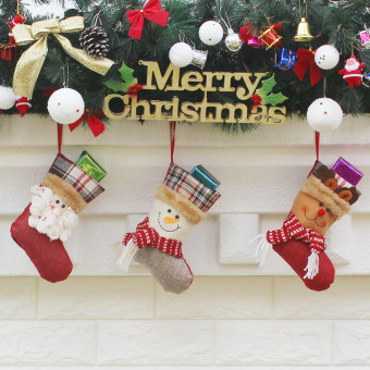 Non-woven fabric embroidered New Year Christmas decoration stockings