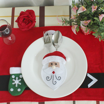 Christmas holiday decoration sack Christmas fork and knife bags