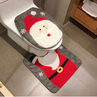Christmas decoration bath mat non-slip toilet seat cover mat