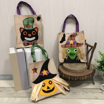 Cartoon non-woven bags with handles for Halloween decoration