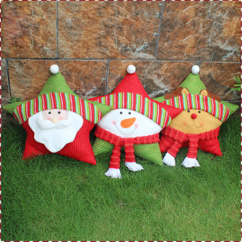 Snowman Xmas decoration bolster cushion with five-star shape