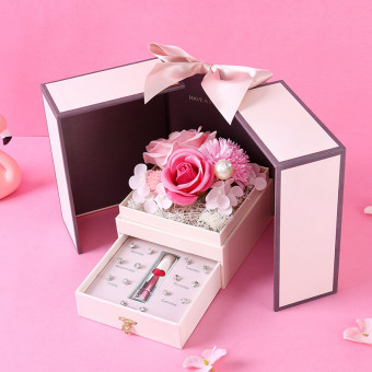 Preserved soap flower gift box with lipstick and earrings necklace