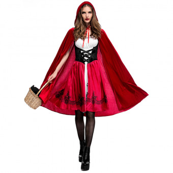 Adult lady cosplay Little Red costume for Halloween or party