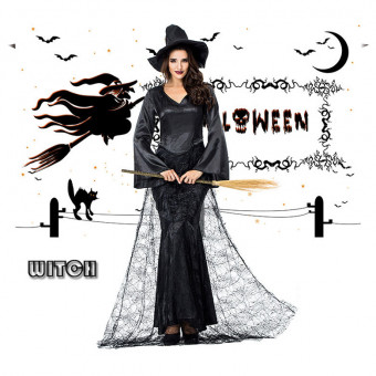 Adult lady cosplay witch costume with black spider net for Halloween
