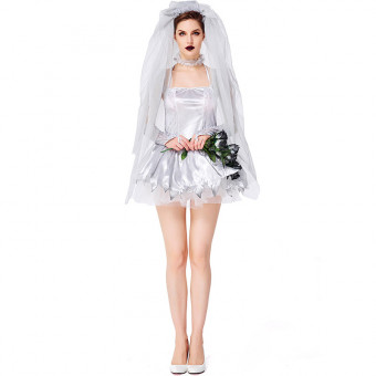 Adult lady cosplay silver zombie bride dress costume for Halloween