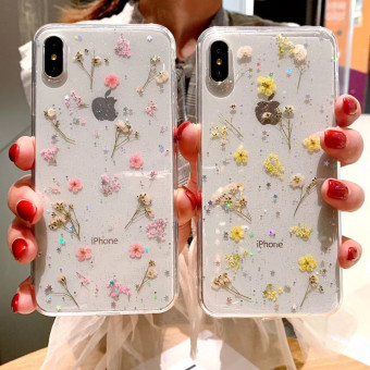 Fashion and poetic preserved fresh flower phone case for iPhone
