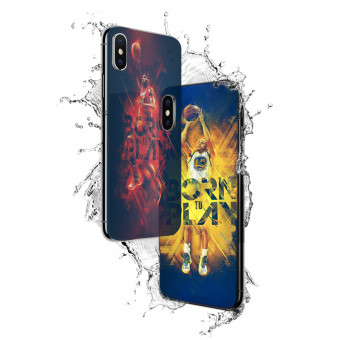 Fashion NBA star series tempered glass phone case for iPhone