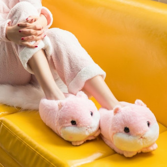 Cute soft hamster cotton slipper for winter or cold weather
