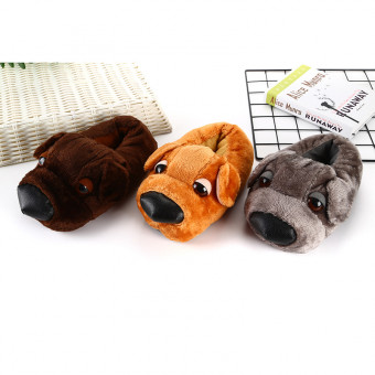 Cute soft big head dog cotton slipper for winter or cold weather