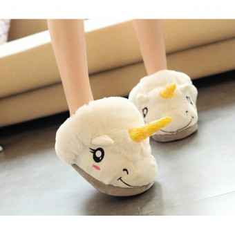 Cute animated unicorn cotton slipper with exposed heel for winter
