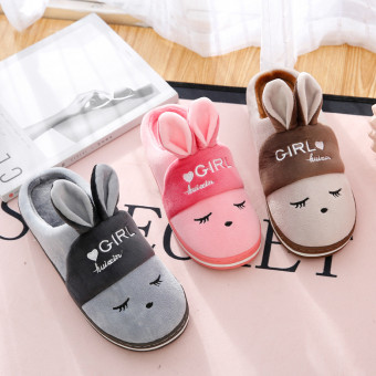 Cute soft rabbit cotton slipper with exposed heel for winter