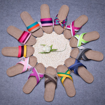 Summer cool and fashion indoor flax slipper with bright color