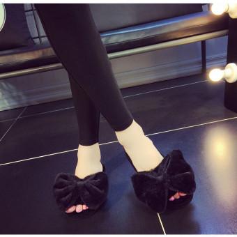 Women's memory foam mule slippers with plush bow