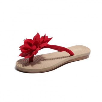 Roman style indoor slippers flip flops with flower decoration