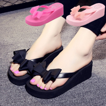 Non-slip fashion indoor slippers flip flops with bow-knot decoration