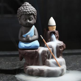Ceramic baby monk backflow incense burner, backflow incense holder